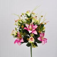 Bouquet fiori artificiali Rose Giglio rosa
