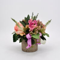 Composizione fiori artificiali Romantik rosa