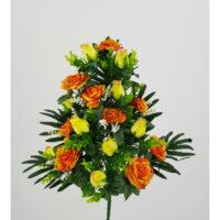 Bouquet fiori artificiali Rosa gioia arancio