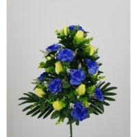Bouquet fiori artificiali Rosa gioia blù