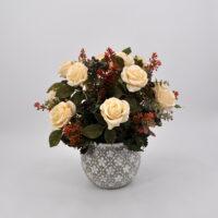Composizione fiori artificiali Rosalinda bianca