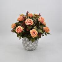 Composizione fiori artificiali Rosalinda rosa
