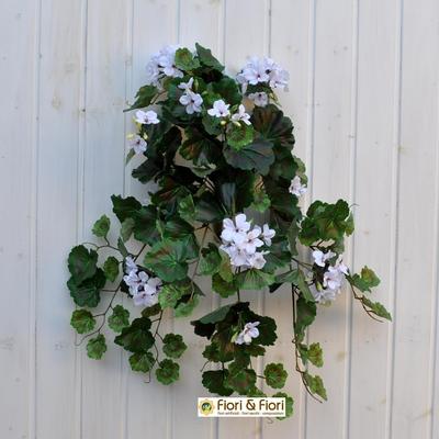 Geranio artificiale pelargonium cadente bianco