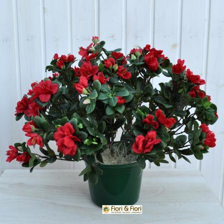 Azalea artificiale rustica rossa