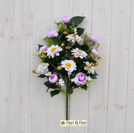 Bouquet fiori artificiali zinnia lilla