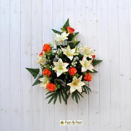 Bouquet fiori artificiali lilium rose arancio