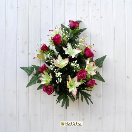 Bouquet fiori artificiali lilium rose fucsia
