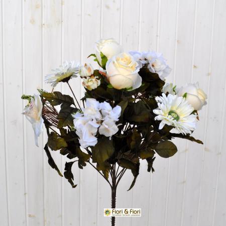 Bouquet fiori artificiali rustico bianco