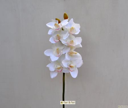 Orchidea artificiale cymbidium bianca