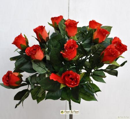 Bouquet fiori artificiali rose paris arancio