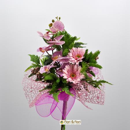 Bouquet fiori artificiali Fresh rosa