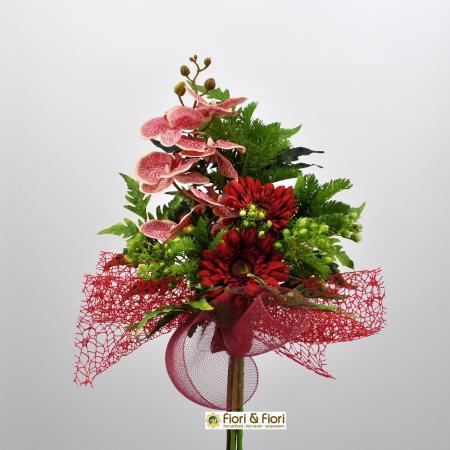 Bouquet fiori artificiali Fresh rosso