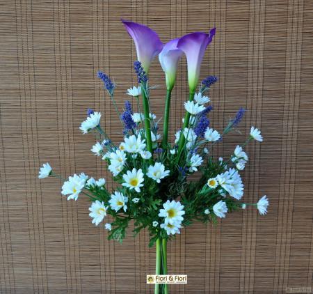 Bouquet fiori artificiali calle e margherite