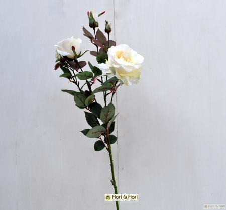 Fiore artificiale Rosa margaret bianca
