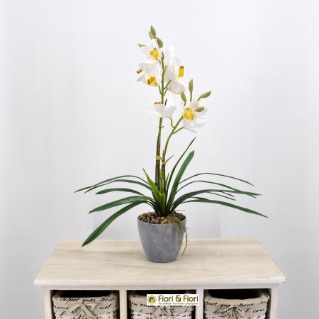 Orchidea cymbidium artificiale bianco