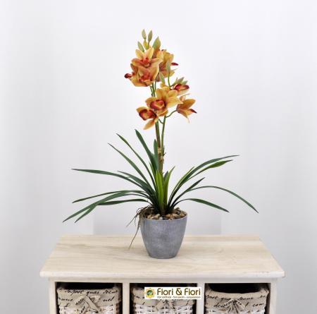 Orchidea cymbidium artificiale arancio