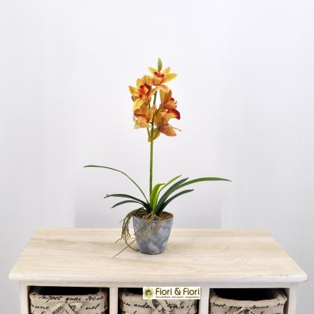 Pianta Cymbidium artificiale arancio