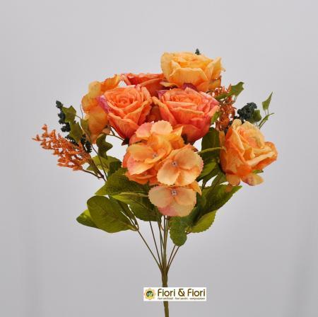 Bouquet fiori artificiali Rose shabby arancio