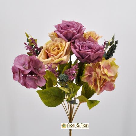 Bouquet fiori artificiali Rose shabby fucsia