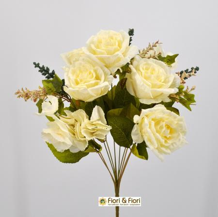 Bouquet fiori artificiali Rose shabby bianco