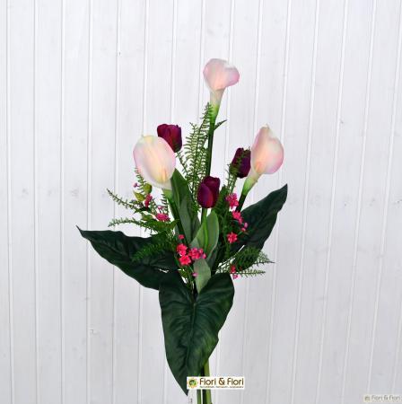 Bouquet fiori artificiali calle tulipani
