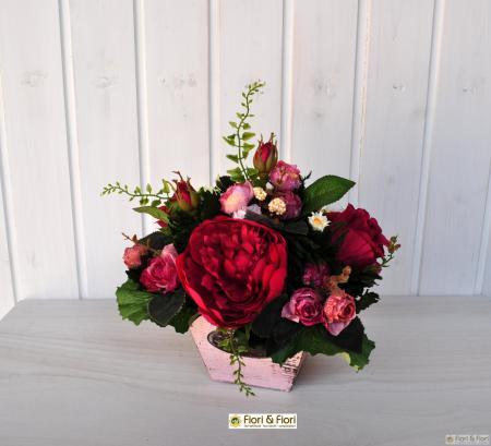Composizione di fiori artificiali Romantik fucsia