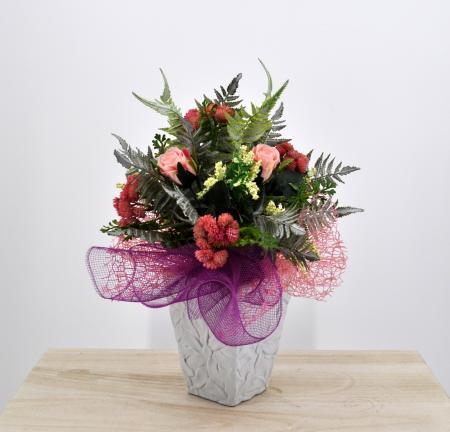 Bouquet fiori artificiali Flora rosa