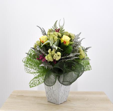 Bouquet fiori artificiali Flora verde