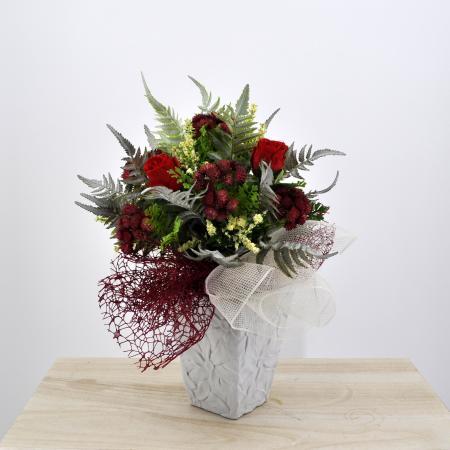 Bouquet fiori artificiali Flora rosso