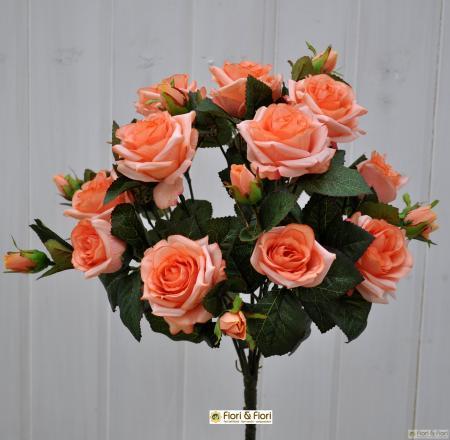 Bouquet di fiori artificiali Rosa Tea salmone