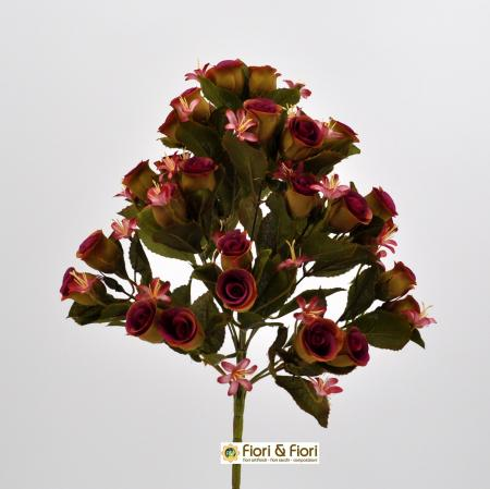 Bouquet di fiori artificiali Rosa Tea fucsia