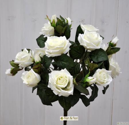 Bouquet di fiori artificiali Rosa Tea bianco