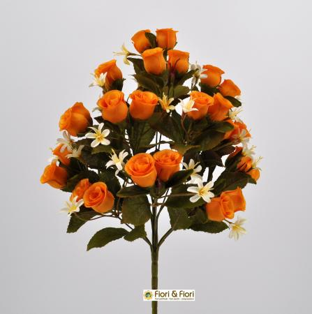 Bouquet di fiori artificiali Rosa Tea arancio