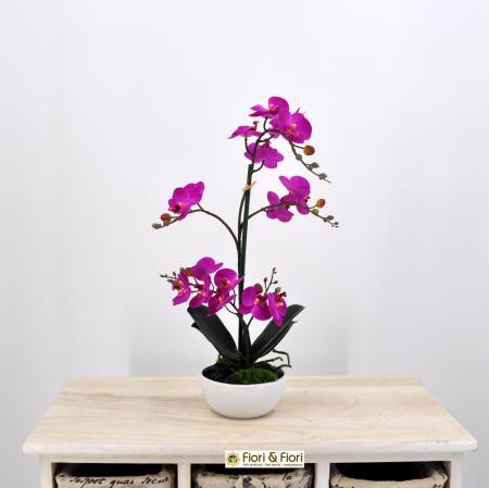 Pianta artificiale Orchidea Phalaenopsis Doris fucsia