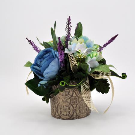 Composizione fiori artificiali Romantik azzurro