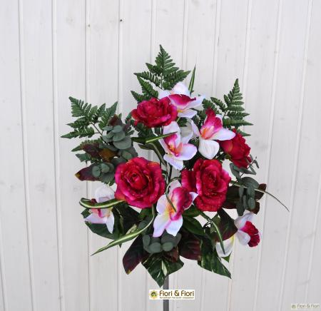 Bouquet fiori artificiali Rose Orchidee fucsia