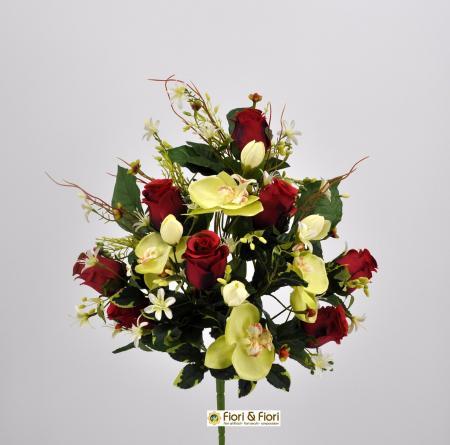 Bouquet fiori artificiali Rose Orchidee rosso