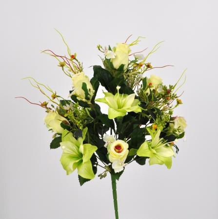 Bouquet fiori artificiali Rose Giglio bianco