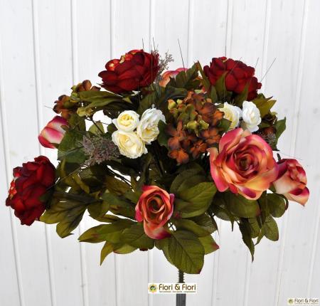 Bouquet fiori artificiali Rose country rosso