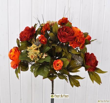 Bouquet fiori artificiali Rose country arancio