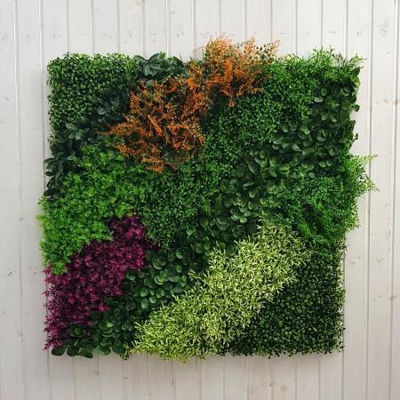 Parete piante artificiali colorata