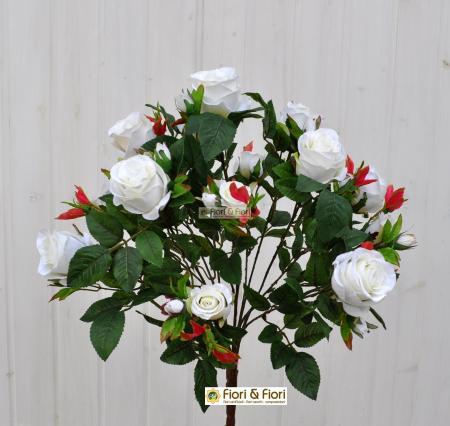 Bouquet rosa artificiale queen elisabeth bianco