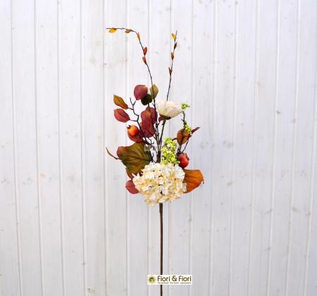 Ramo fiori finti margot bianco