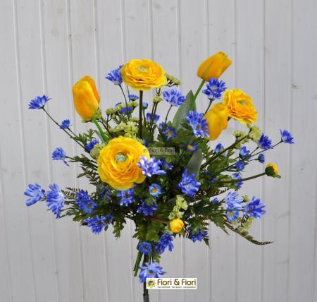 Bouquet fiori artificiali margherite tulipani