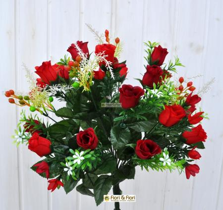 Bouquet boccioli di rosa artificiale rosso