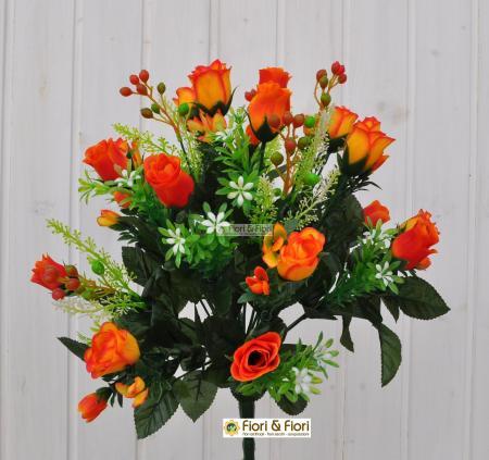Bouquet boccioli rosa artificiale arancio