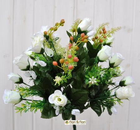 Bouquet boccioli rosa artificiale bianco