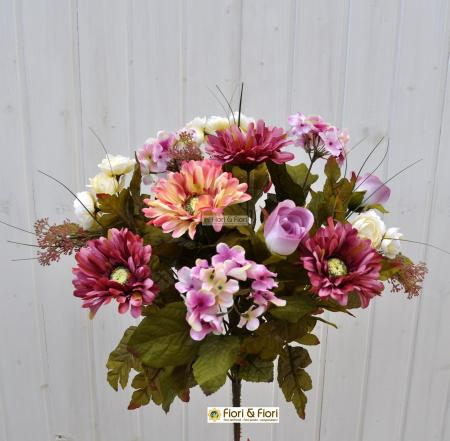 Bouquet fiori artificiali country rosa