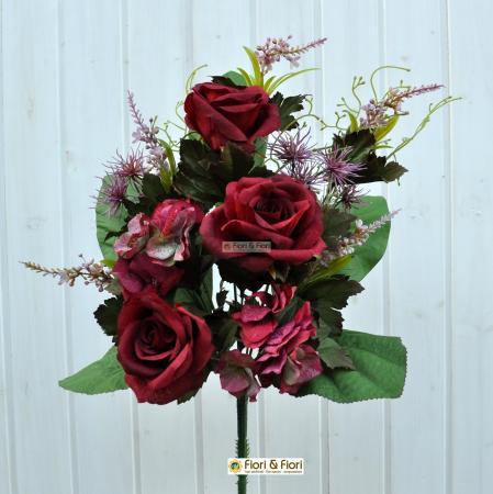 Bouquet fiori artificiali Rosanna rosso
