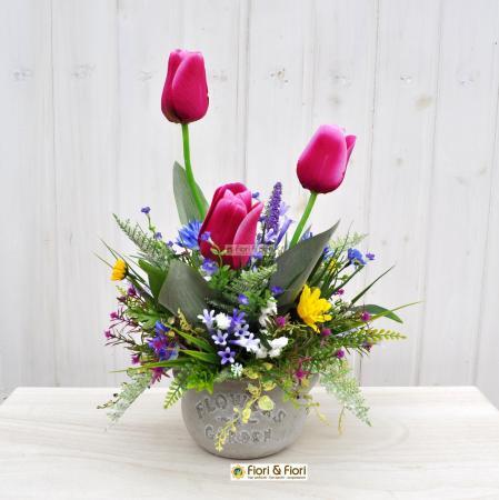 Composizione fiori artificiali Lisette fucsia